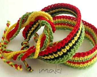 Crochet pattern - Rastafari bracelets - Summer bracelet crochet pattern. Permission to sell finished items. Pattern No. 207