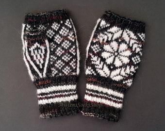 Hand Knitted Fingerless Gloves Nordic Fingerless Gloves Hand Warmers Wrist Warmers Arm Warmers Nordic Mittens Texting Gloves Driving Gloves