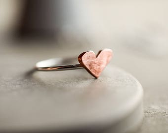 Copper heart ring, 1.2 mm sterling silver stacking ring, silver stackable ring