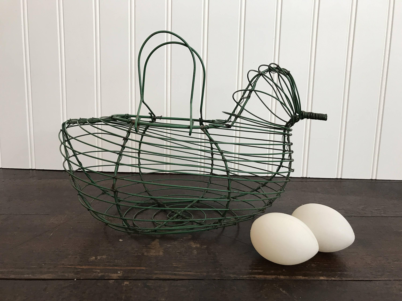 Vintage Drahtkorb Ei grünen Draht Henne geformt Versammlung