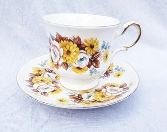Royal Vale Cup And Saucer Vintage Royal Vale China Yellow Flower Tea Cup Brown Yellow Flower Tea Cup High Tea Tea Party