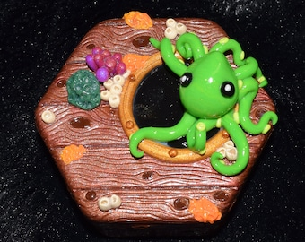 Lime Green Octopus Shipwreck Polymer Clay Decorated Hexagon Box