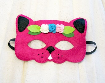 Pink cat mask for girl felt roses handmade kitty animal zoo birthday party favor blossom dress up pretend play accessory cute gift for girl