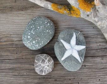 Beach Pebble Art Hand painted starfish, natural Zen stones