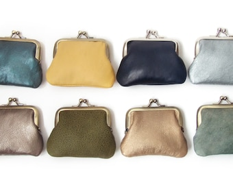 Leather coin purse, mini pocket pouch with silk lining, yellow, gold, bronze, metallic, blue