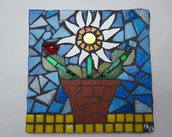 flower pot mosaic tile