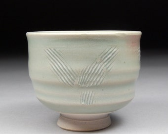 Guinomi Sake Cup/Small Tea cup glazed with Satin Celadon with Natural Copper Blush