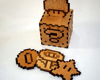 Mario Bros. 8 Bit Coasters - Laser cut and laser engraved coaster set. Perfect gift or collectible for drinks and barware.
