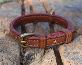 Lined Leather Dog Collar with Red Accents - size XS