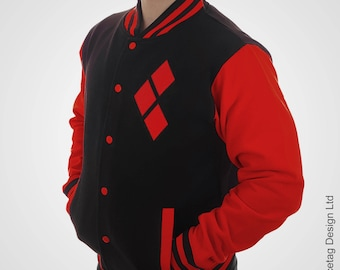 Black Harley Varsity Jacket With Red Sleeves College Letterman Squad Coat Baseball Top American Fashion University Womens Mens Outfit