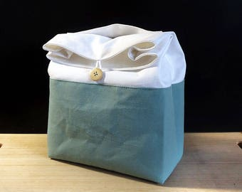 Green lunch bag for women, Zero waste food bag, Cotton lunch bag for men, Sac a lunch, Zero waste gift, Lunch box