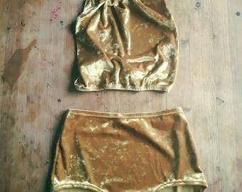 Velvet playsuit shorts and halter top