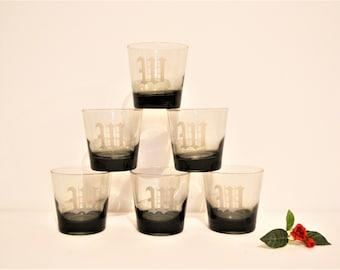 W Monogram Highball Whiskey Glasses Set of Six