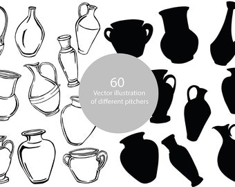 Vector illustration of different pitchers
