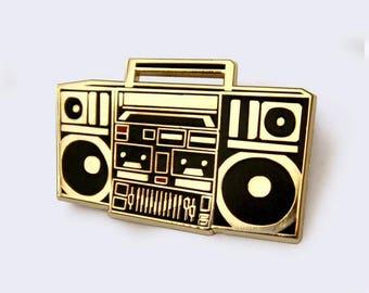 Boombox Enamel Pin - Radio Ghettoblaster Tape Player Enamel Pin - hip hop
