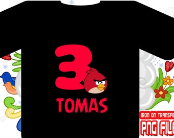 Angry Birds, Angry Birds Iron On Transfer, Angry Birds Birthday Shirt, Boy Birthday Shirt, Angry Birds Party, Personalize Name, Digital File