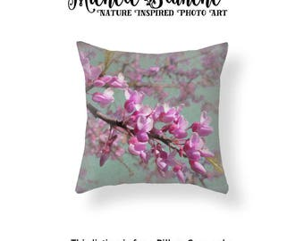 Pink Red Bud Photo Pillow, Red Bud Blossom Turquoise Toss Pillow, Floral Photo Pillow, Red bud Tree Blossoms Throw Pillow, Spring bud pillow