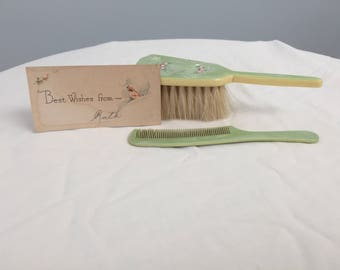 Baby celluloid  comb and brush set
