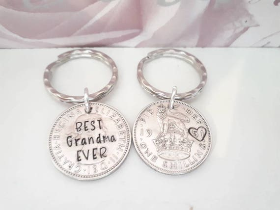 Birth year grandparent Hand stamped personalised Uk shilling coin best grandma keyring best grandad keychain
