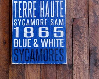 Indiana State University Sycamores Distressed Wood Sign--Great Father's Day Gift!