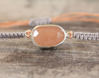 Sea Moonstone Bracelet in pale lavender and peach