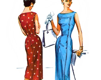 McCall's 3684 Sewing Pattern for Vintage 50s Misses' Sheath Dress - Uncut - Size 14 - Bust 32