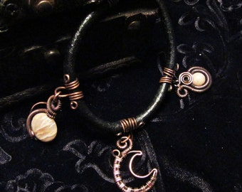 Black Leather and Copper Wirework Pink Moonstone & Moon Charm Bracelet