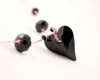 Black Crystal Heart Necklace, Swarovski Wild Heart Pendant, Pink Silk