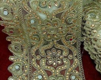 braid, gold trim, rhinestones and mirror - 14 cm wide