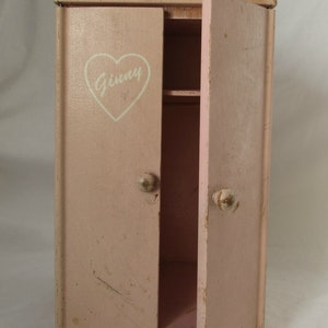 Doll Wardrobe Closet, for Vogue Ginny Doll, Wood, Pink, 1950's