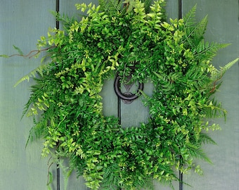 Boxwood and Fern Wreath, Spring Wreath, Summer Wreath, Boxwood Wreath, Fern Wreath, Wedding Decor, Spring, Summer, Everyday Wreath, Greenery