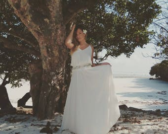 Designer wedding dress, Bride dress, Bohemian wedding gown, Fit and flare wedding dress, Halter wedding dress, lilium fairy
