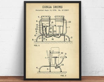 Drum blueprint etsy conga drum patent print digital download musician gift percussion music decor malvernweather Image collections