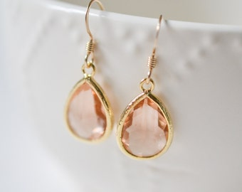 Bridesmaid Jewelry Set of 4 Peach Champagne Teardrop Earrings in Gold