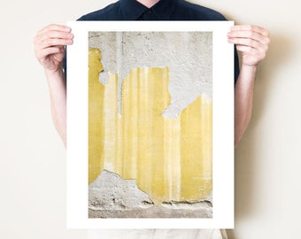 Golden yellow abstract wall fine art photograph. Rustic graphic urban photography print. Florence Italy texture artwork. Large format decor