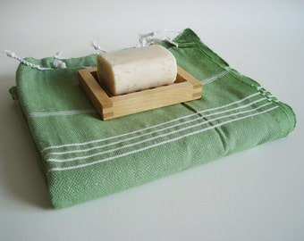 SALE 50 OFF/ Turkish Beach Bath Towel / Classic Peshtemal / Green / Wedding Gift, Spa, Swim, Pool Towels and Pareo