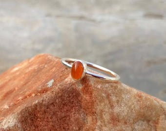 Natural Carnelian Oval Cab Silver Ring -  Handmade Ring - Gift Ring - Ring for Her - Handmade Silver Ring- Carnelian Ring