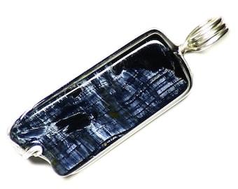 Long Pietersite Jewelry, Blue Pietersite Pendant, Namibian Pietersite in Sterling Silver, Ocean Water Necklace, Tumbled Pietersite Jewelry