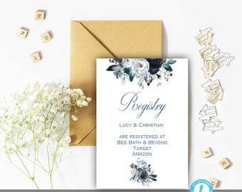 Registry Card, Registry Template, Wedding Template, Printable Wedding Insert, You Edit, Floral, Rustic, Boho, Navy, Peony, Registry, DIY