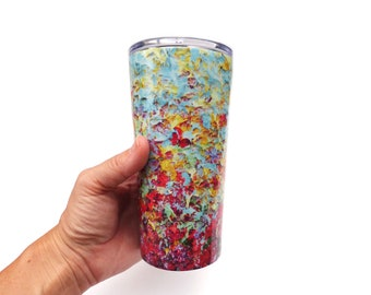 20oz Tumbler, Colorful Insulated Travel Tumbler, Travel Coffee Mug, 20oz Mug, Double Walled Tumbler, Abstract Art Drinkware, Travelers Gift