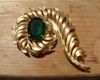 Vintage Goldtone Leaf, Feather, or Fern with Large Green Crystal Rhinestone Brooch,  Green with Envy