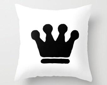Crown Pillow, Kids Room Decor, Velvet Pillow Cover 18x18 or 22x22, Girls Bedroom, Boys Pillows, Black and White, Kids Pillow Set