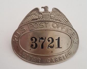 Vintage 1960's U.S. Post Office Mail Carrier hat badge No 3721, nickel silver