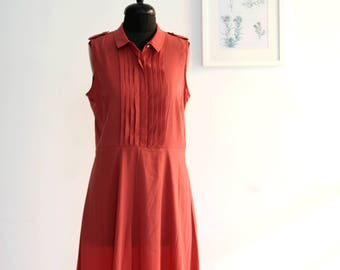 SALE / Red dress/ sleeveless summer dress/ Midi dress/ size 38 EU 8 US