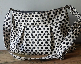 Hippopotamus Bag - Black Hippo White Messenger Bag - 3 Pockets - Adjustable Strap