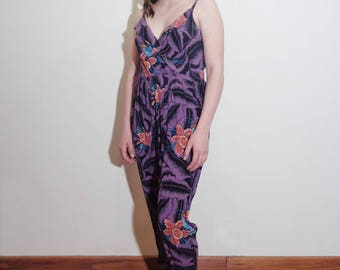 Vtg 80s AMAZING Skinny TROPICAL WRAP Jumpsuit! Small