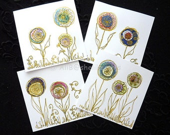 Handmade original flower art cards blank greeting cards with envelopes