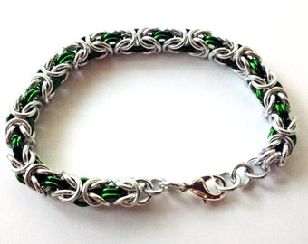 Byzantine aluminium green and silver colour chain maille bracelet with silver plated clasp