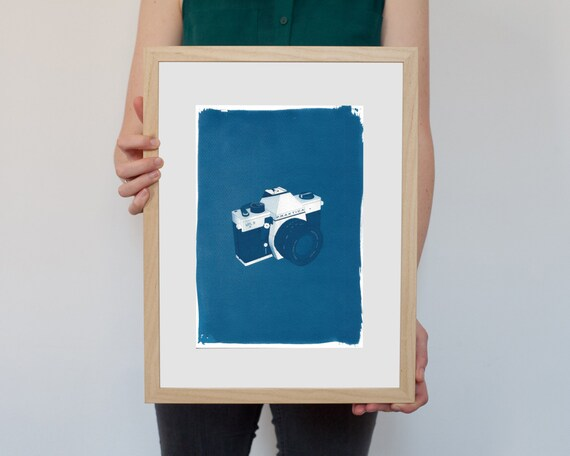 Cyanotype Print, 3d Analogue 35mm Film Camera on Watercolor Paper, A4 size (Limited Edition)
