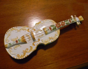 """Vintage 15"""" Porcelain Guitar Wall Hanging that could be used for a Brochure Holder"""